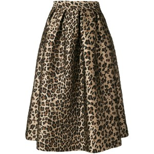 P.A.R.O.S.H. leopard print flared skirt - ブラウン