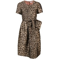 P.A.R.O.S.H. leopard print flared dress - ブラウン
