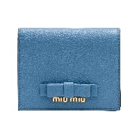 Miu Miu Madras leather bow wallet - ブルー