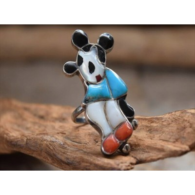 Vintage Indian Jewelry 70s ズニ族 マルチインレイ ミッキーマウス (Mickey mouse) モチーフ リング(10.5号)