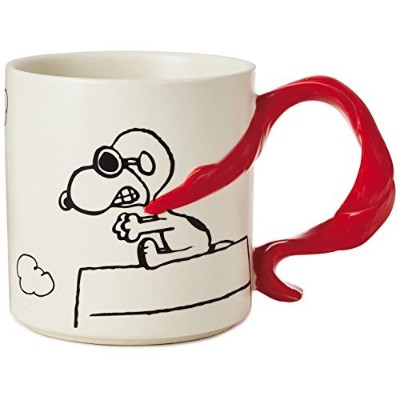 Hallmark Peanuts Snoopy Flying Ace With Scarf Handle Mug, 350ml