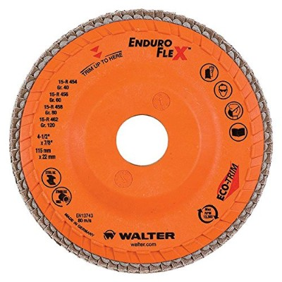 Walter Enduro-Flex Abrasive Flap Disc, Type 29, 5/8-11 Thread Size, Trimmable wood fiber Backing,...