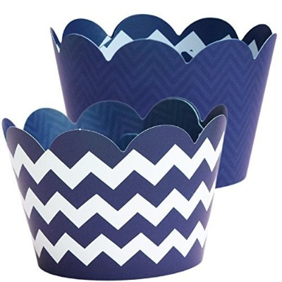 Navy Blue Cupcake Wrappers Nautical Party Supplies 36シェブロン、カップケーキデコレーション、誕生日Treatホルダー、卒業式装飾、ウェディング...