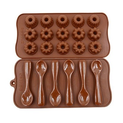 Qpower 2個シリコンチョコレートDecorating Baking Mouldスプーン花形状ケーキ金型フォンダンPastry Moulds