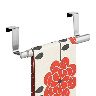 mDesign Over-the-Cabinet Expandable Kitchen Dish Towel Bar Rack - Brushed Stainless by MetroDecor