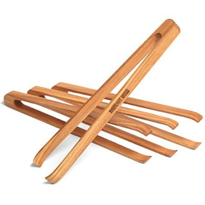 Mr.ArtWood Mini Wooden Appetiser Tongs (Pack of 4), 15cm Generous Length, Lightweight, Easy Grip,...