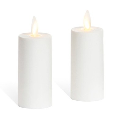Luminara Votive Candle Set of 2 Ivory Moving Wick Candles 3.8cm X 7.6cm with Timer and Remote Ready