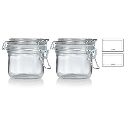 6.67Oz / 200ml Airtight Thick Heavy壁ガラスHermetic Jar Set ( 2Pack ) for Canning、スパイス、キッチンとストレージ