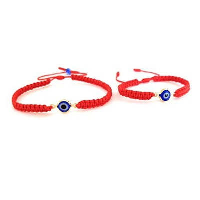 Lucky Charms USA Mommy and Me Set of 2 – Red String Evil Eye Bracelet for保護、Mal De Ojo