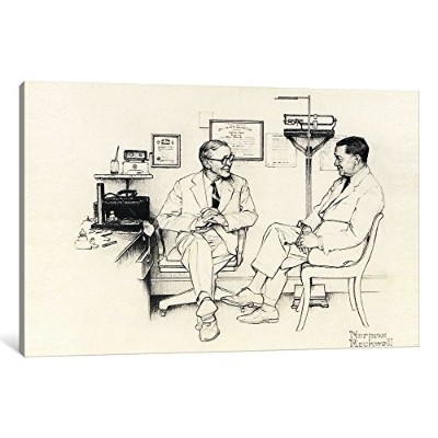 """iCanvasART 1Piece Doctors Officeキャンバスプリントby Norman Rockwell、40x 26インチ/ 1.5"""" Deep"""