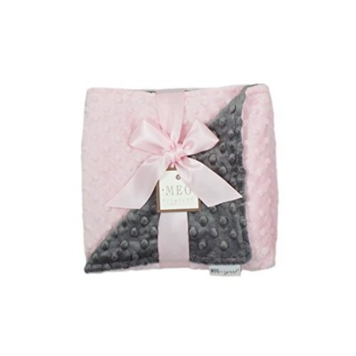 MEG Original Minky Dot Baby Girl Blanket Pink/Charcoal Gray by MEG Original