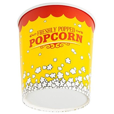 (25, 3840ml) - 3840ml Popcorn Bucket Cup, Yellow Red Retro Style (25 Buckets) by - EcoWare