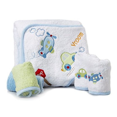 Spasilk 100% Cotton Hooded Terry Bath Towel with 4 Washcloths, Plane Blue/Green by Spasilk