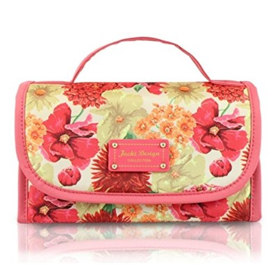 Jacki Design ABC15113CO Miss Cherie Organizer Roll Up Cosmetic Bag44; Coral