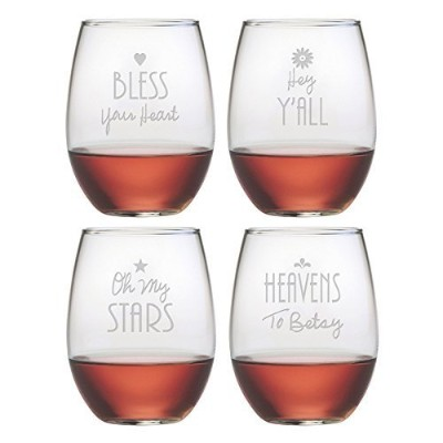 Southern Sayings Stemless Wine Glass ( Set of 4) by Susquehannaガラス