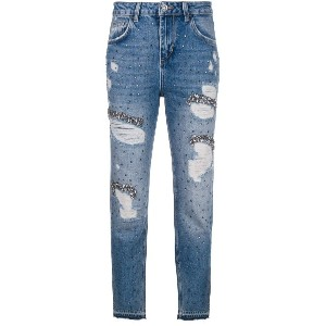 Liu Jo embellished distressed jeans - ブルー