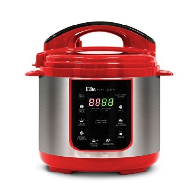 Elite Platinum EPC-414R Maxi-Matic 4 Quart Electric Pressure Cooker, Red (Stainless Steel) by Elite...