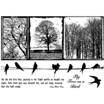 """Crafty Individuals Unmounted Rubber Stamp 4.75""""X7"""" Pkg-Birds On A Wire (並行輸入品)"""