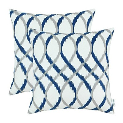 (50cm X 50cm , Gray/Navy Blue) - Pack of 2 CaliTime Cosy Throw Pillow Cases Covers for Couch Bed...