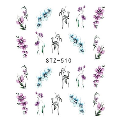 (STZ-510) 1pcs Nail Sticker Butterfly Flower Water Transfer Decal Sliders for Nail Art Decoration...