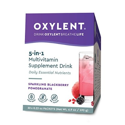 Vitalah, Oxylent, Multivitamin Supplement Drink, Sparkling Blackberry Pomegranate, 30 Packets, (5.9...