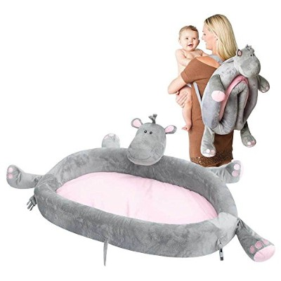 Baby Travel Bed - Portable Toddler Lounge Folds Into Backpack For Sleep, Travel, And Play - Hippo...