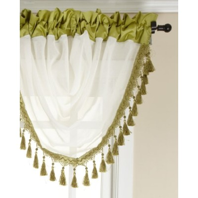Stylemaster Soho Sheer Waterfall Valance with Faux Silkバンド、フリンジ、47by 38-inch Soho