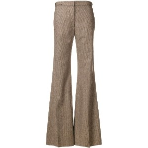 Rochas flared high waisted trousers - ブラウン