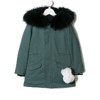 Yves Salomon Enfant plush charm parka - グリーン
