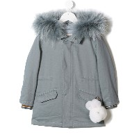 Yves Salomon Enfant plush charm parka - ブルー