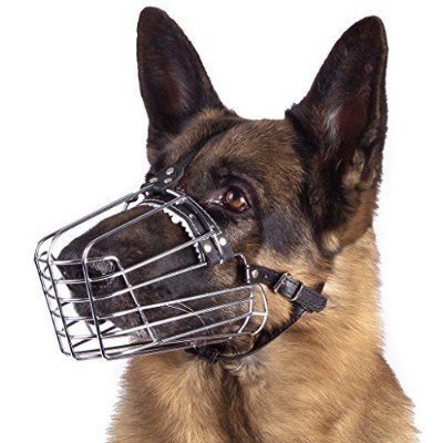 bronzedog Wire Basket Dog Muzzle German Shepherd調節可能メタルレザー M 4334787048