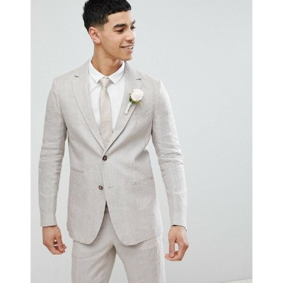 ベネトン メンズ ジャケット&ブルゾン アウター United Colors Of Benetton Wedding Regular Fit Linen Suit Jacket In Stone...