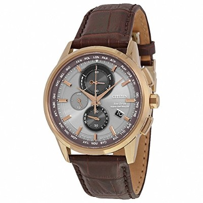 (シチズン) CITIZEN Eco-Drive World Chronograph A-T Perpetual Calendar Brown Leather Strap Men Watch...