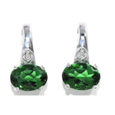 2 Ct Simulated Emerald & Diamond Oval Stud Earrings .925 Sterling Silver Rhodium Finish