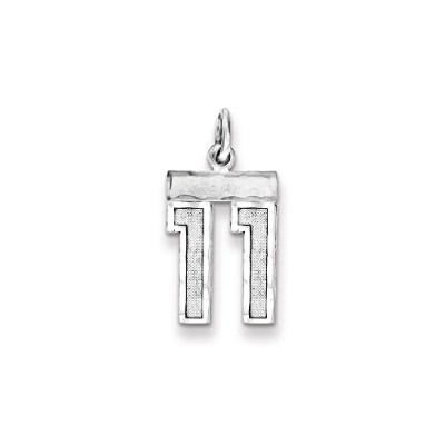 Beautiful Sterling silver 925 sterling Sterling Silver Rhodium-plated Small #11 Charm comes with a...