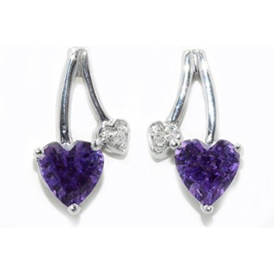 1 Ct Created Alexandrite & Diamond Heart Stud Earrings .925 Sterling Silver Rhodium Finish