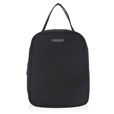 (Black) - Veegul Recycle Cooler Insulated Lunch bag for Women Men Kids Black