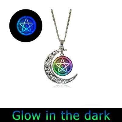 Glowing Wiccan PentagramペンダントFull MoonネックレスWiccanネックレスWiccanペンダントペンタグラムネックレスペンダント