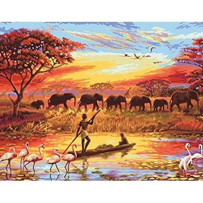 (Africa) - MailingArt Paint By Number Kits Canvas Painting - Colourful Life (Africa)