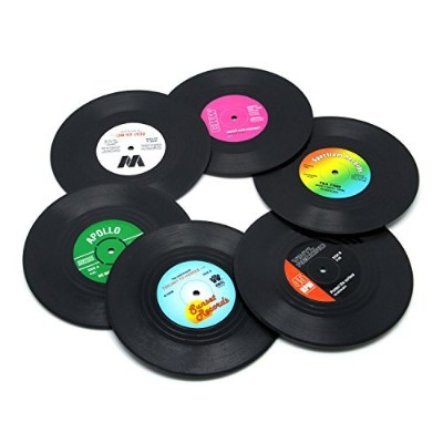 (6 PCS Vinyl) - DuoMuo Coaster Set of 6 Colourful Vinyl Record Disc Coasters With Funny Labels...