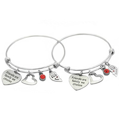 odladm Best Friends BFF Wire Expandable BangleインスピレーションFriends Are Family We Chooseチャームブレスレット2pcs