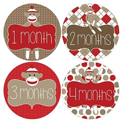 Gift Set of 12 Round Keepsake Photography Monthly Baby Stickers with Sock Monkey Designs MOSB144 by...