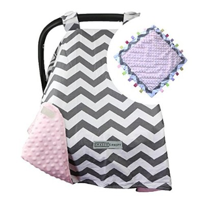 5 Colors **Summer Sale!** Car Seat Canopy by CRAZZIE with Matching Soft TAGZ Blanket (Grey Zigzag Pink Minky with TAGZ Blanket) by CRAZZIE