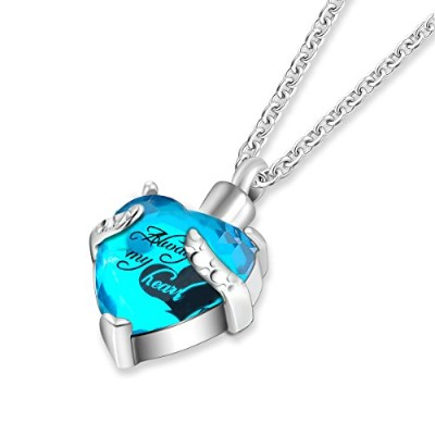 """Cremation Urnジュエリー灰Memorial Keepsakes necklace-engraved """" Always in My Heart """"ペンダント"""