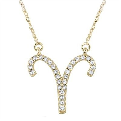 "silvernshine Jewels 14 K Gold over 1 / 5 ct D / vvs1ダイヤモンド牡羊座ペンダントwith 18 ""チェーンネックレス"