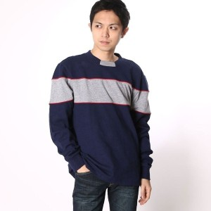 【SALE 70%OFF】ゲス GUESS L/S CALEB REACTIVE COLOR-BLOCKED TEE (INDIGO MULTI)