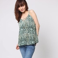 【SALE 50%OFF】ゲス GUESS SL LEONA LACE-UP TANK (SAND SNAKE SEA FOAM GREEN)