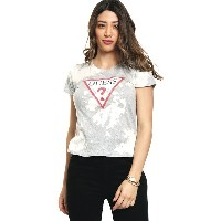 ゲス GUESS BLEACH WASH TRIANGLE LOGO TEE (MEDIUM HEATHER GREY MULTI)