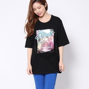 【SALE 50%OFF】ゲス GUESS DOWNTOWN LACE-UP TEE (BLACK)