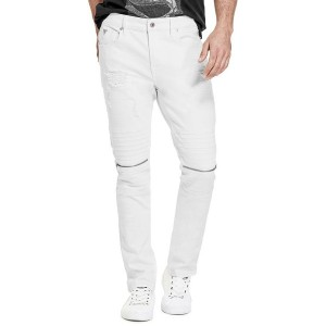 【SALE 30%OFF】ゲス GUESS SKINNY ZIPPER MOTO DENIM PANT (OPTIC WHITE W/ DESTROY)